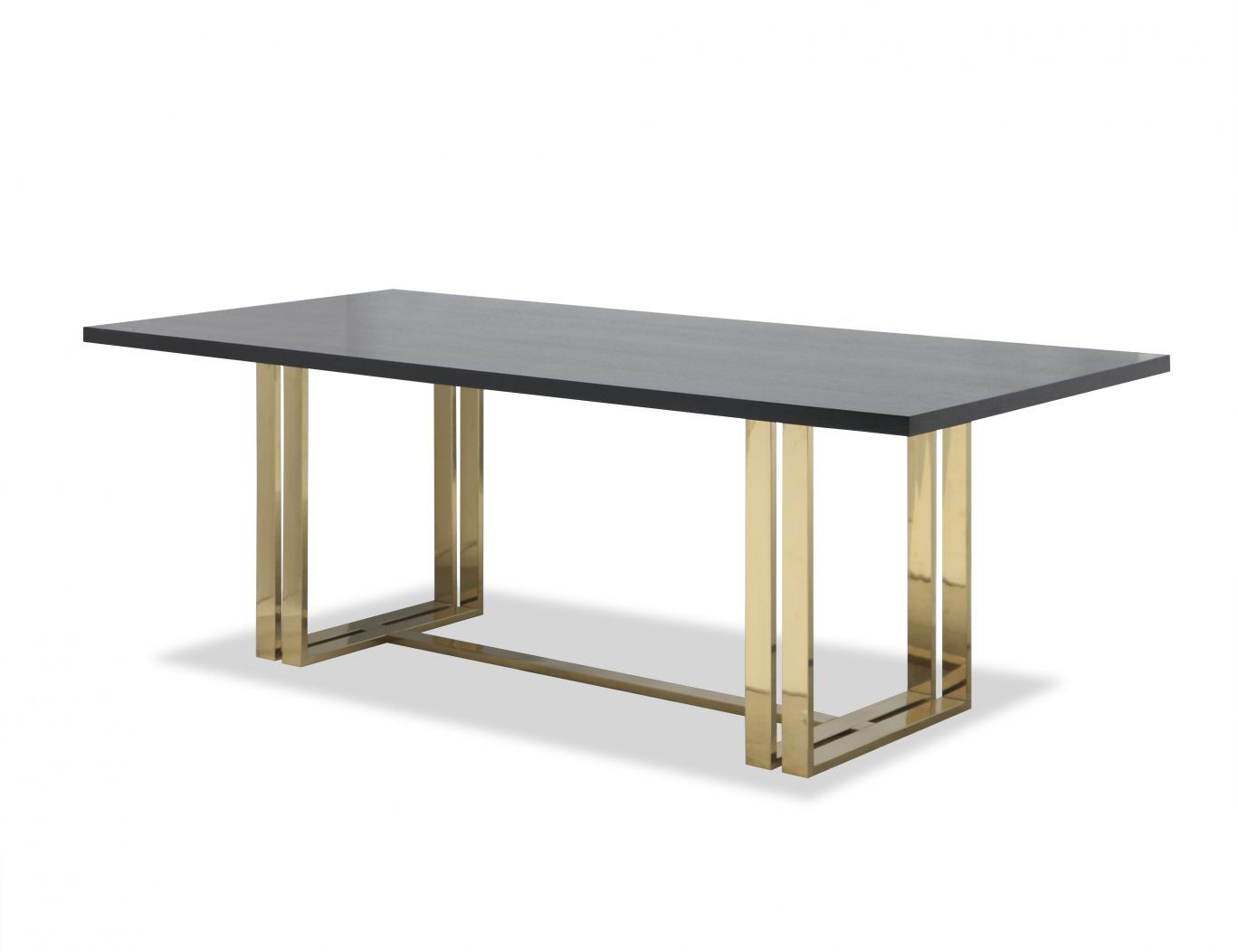 Regent wenge dining table with polished brass legs
