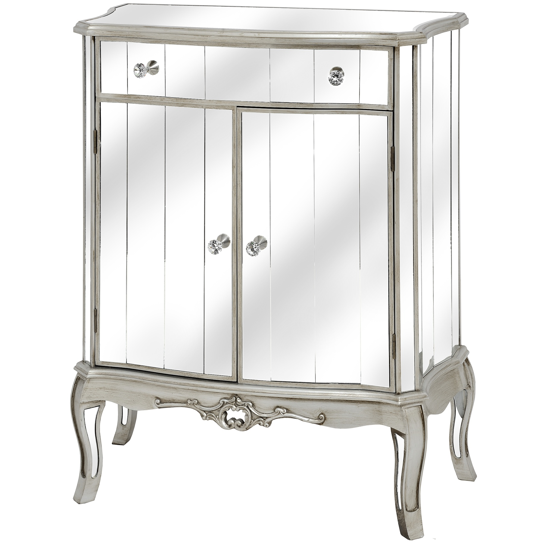 Argente Mirrored  One Drawer Two Door Cabinet